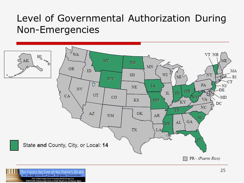 25 CA OR WA ID MT TX SD WY NV OK KS NE CO NM AZ UT ND SC MN WI IA MO AR LA VA NC GA FL AL MS IL WV KY TN NY PA IN OH MI DE NJ CT ME DC MD NHVT PR - (Puerto Rico) HI AK Level of Governmental Authorization During Non-Emergencies RI MA State and County, City, or Local: 14