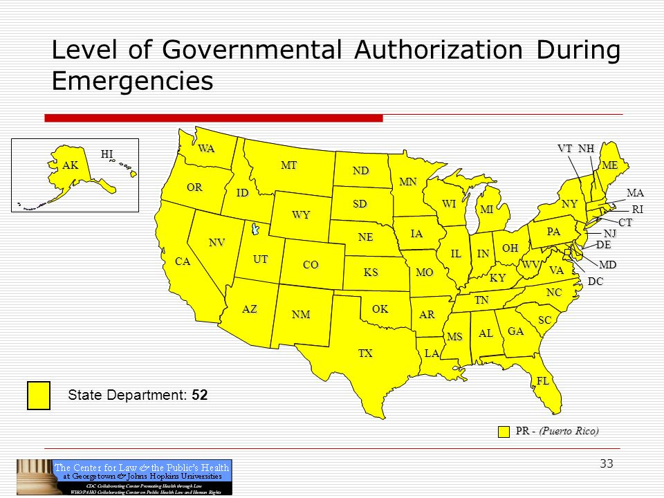33 CA OR WA ID MT TX SD WY NV OK KS NE CO NM AZ UT ND SC MN WI IA MO AR LA VA NC GA FL AL MS IL WV KY TN NY PA IN OH MI DE NJ CT ME DC MD NHVT PR - (Puerto Rico) HI AK Level of Governmental Authorization During Emergencies RI MA State Department: 52