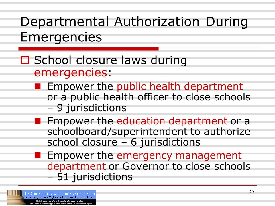 36 Departmental Authorization During Emergencies School closure laws during emergencies: Empower the public health department or a public health officer to close schools – 9 jurisdictions Empower the education department or a schoolboard/superintendent to authorize school closure – 6 jurisdictions Empower the emergency management department or Governor to close schools – 51 jurisdictions