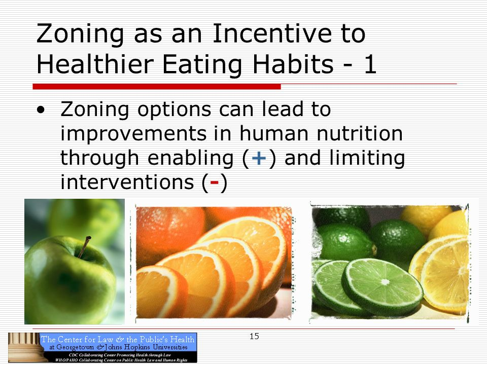 15 Zoning as an Incentive to Healthier Eating Habits - 1 Zoning options can lead to improvements in human nutrition through enabling (+) and limiting interventions (-)