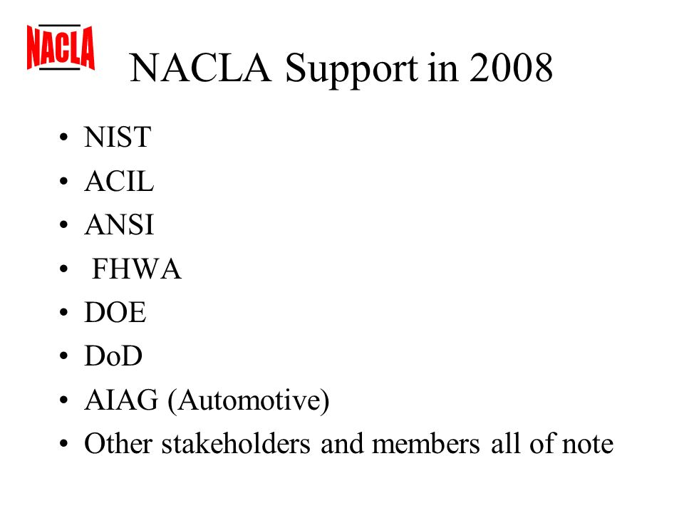 NACLA Support in 2008 NIST ACIL ANSI FHWA DOE DoD AIAG (Automotive) Other stakeholders and members all of note