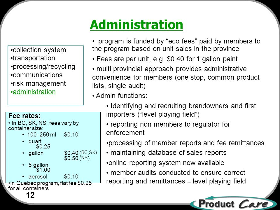12 collection system transportation processing/recycling communications risk management administration program is funded by eco fees paid by members to the program based on unit sales in the province Fees are per unit, e.g.