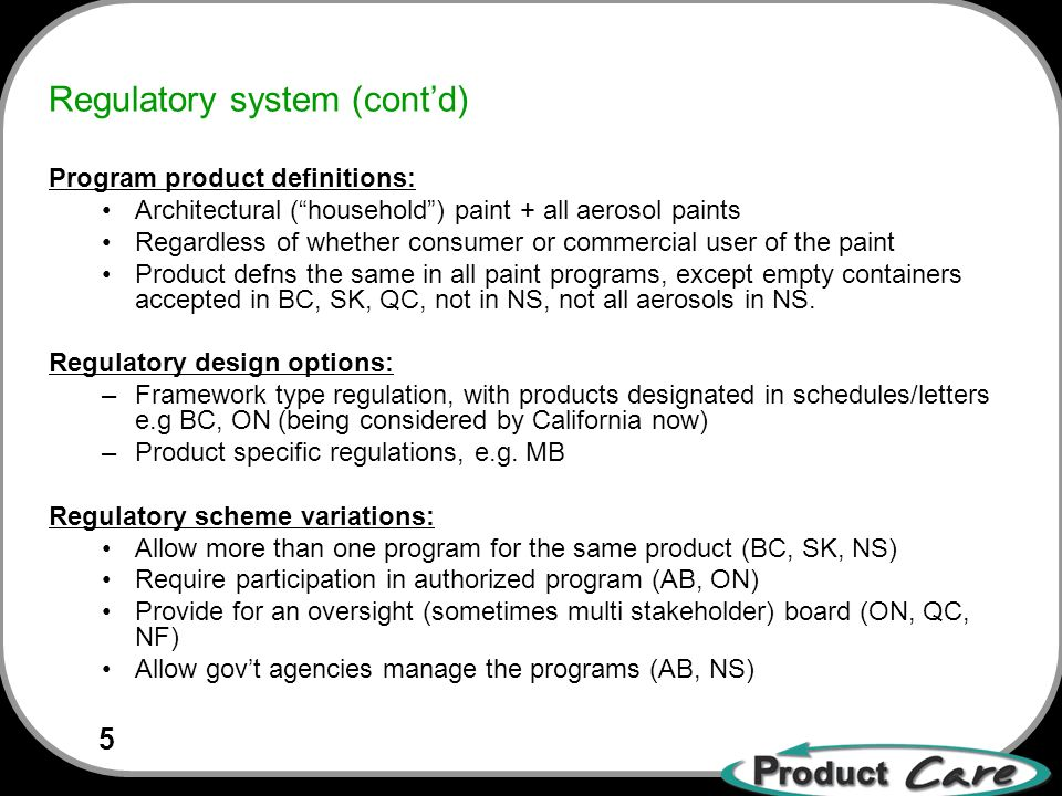 5 Regulatory system (contd) Program product definitions: Architectural (household) paint + all aerosol paints Regardless of whether consumer or commercial user of the paint Product defns the same in all paint programs, except empty containers accepted in BC, SK, QC, not in NS, not all aerosols in NS.