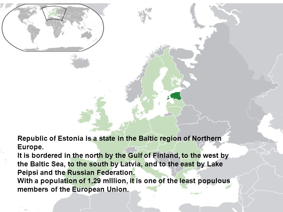 Republic of Estonia is a state in the Baltic region of Northern Europe.