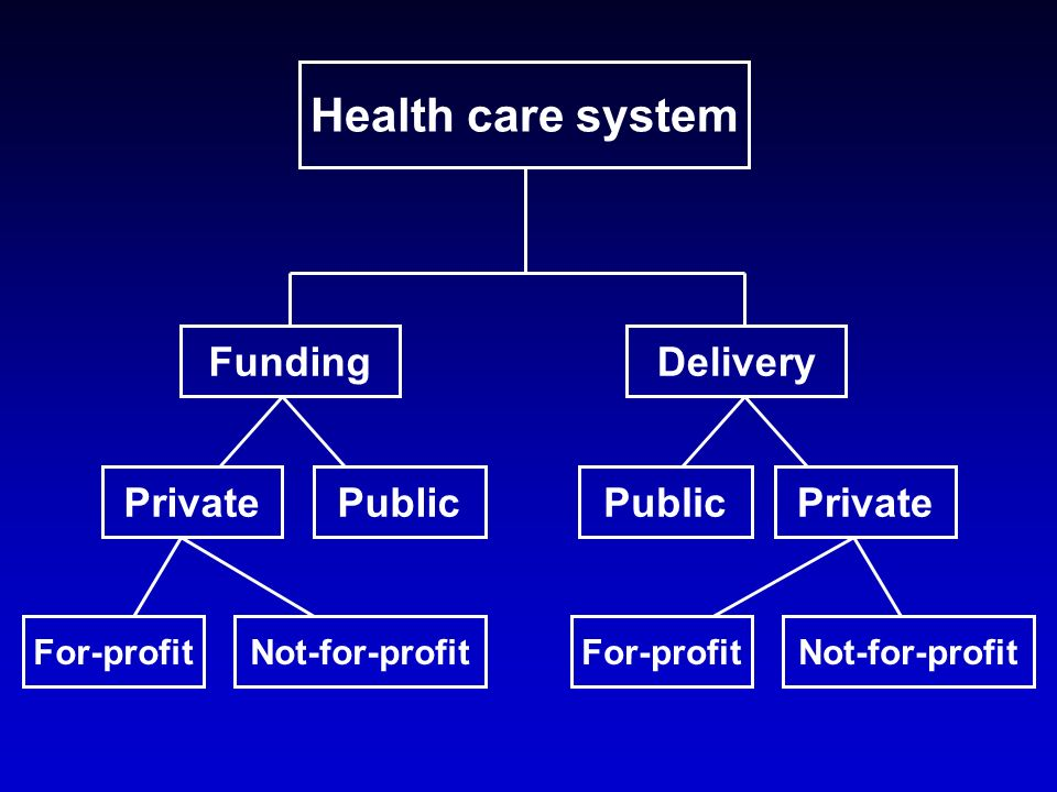 Health care system FundingDelivery PrivatePublicPrivatePublic For-profitNot-for-profitFor-profitNot-for-profit