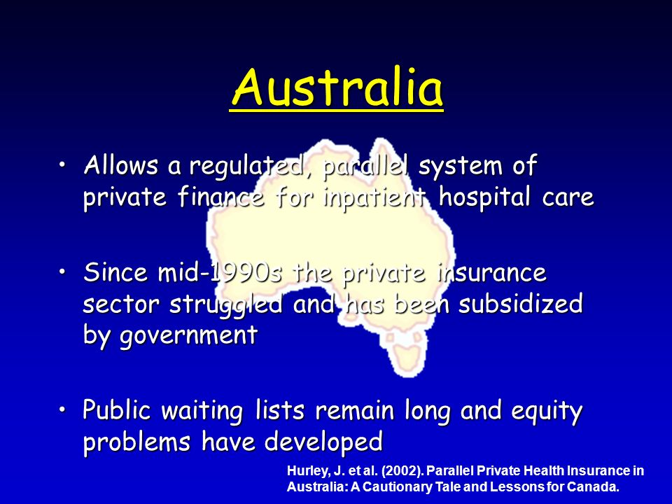 Australia Allows a regulated, parallel system of private finance for inpatient hospital careAllows a regulated, parallel system of private finance for inpatient hospital care Since mid-1990s the private insurance sector struggled and has been subsidized by governmentSince mid-1990s the private insurance sector struggled and has been subsidized by government Public waiting lists remain long and equity problems have developedPublic waiting lists remain long and equity problems have developed Hurley, J.