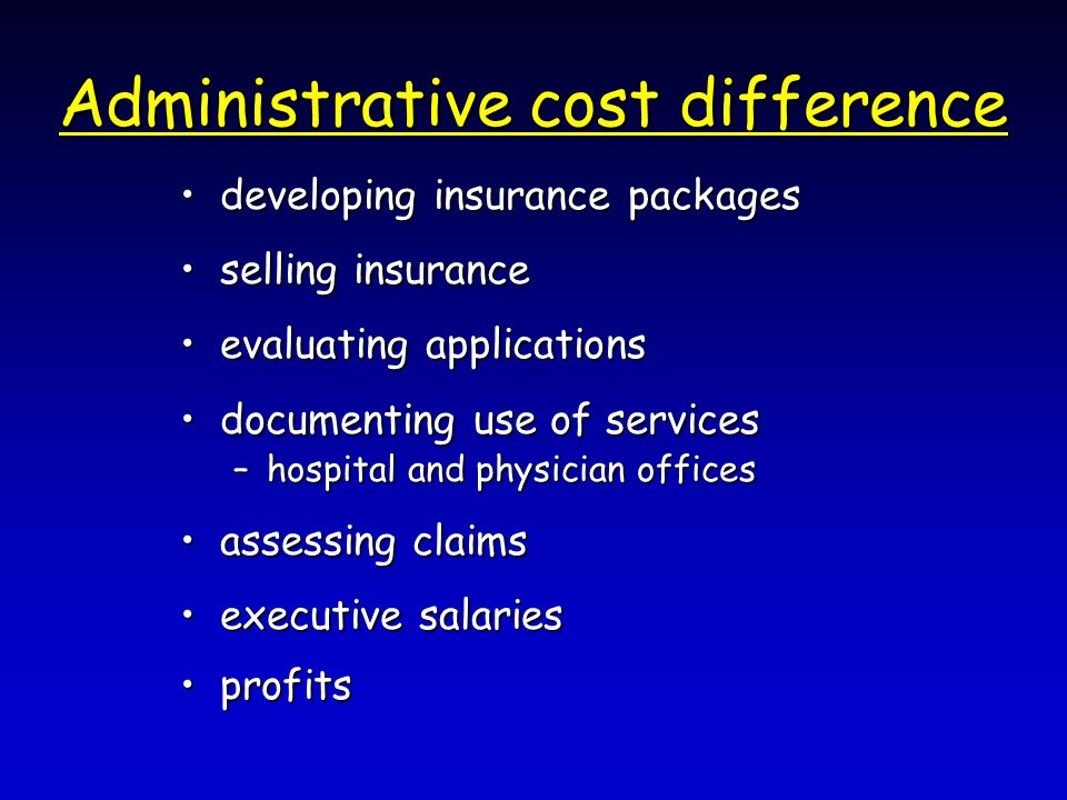 Administrative cost difference developing insurance packagesdeveloping insurance packages selling insuranceselling insurance evaluating applicationsevaluating applications documenting use of servicesdocumenting use of services –hospital and physician offices assessing claimsassessing claims executive salariesexecutive salaries profitsprofits