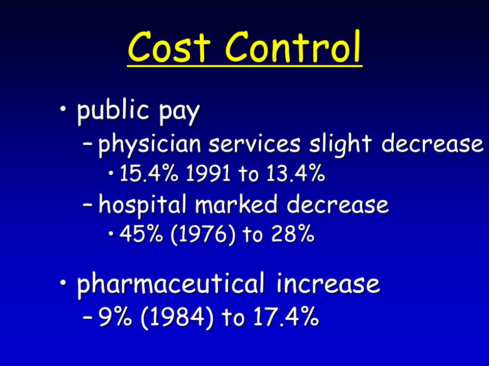 Cost Control public paypublic pay –physician services slight decrease 15.4% 1991 to 13.4%15.4% 1991 to 13.4% –hospital marked decrease 45% (1976) to 28%45% (1976) to 28% pharmaceutical increasepharmaceutical increase –9% (1984) to 17.4%