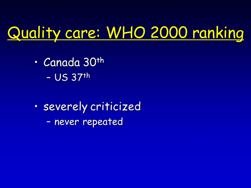 Quality care: WHO 2000 ranking Canada 30 thCanada 30 th –US 37 th severely criticizedseverely criticized –never repeated