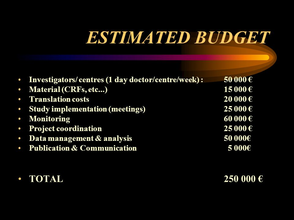 ESTIMATED BUDGET Investigators/ centres (1 day doctor/centre/week) : 50 000 Material (CRFs, etc...) 15 000 Translation costs20 000 Study implementation (meetings)25 000 Monitoring60 000 Project coordination25 000 Data management & analysis50 000 Publication & Communication 5 000 TOTAL 250 000