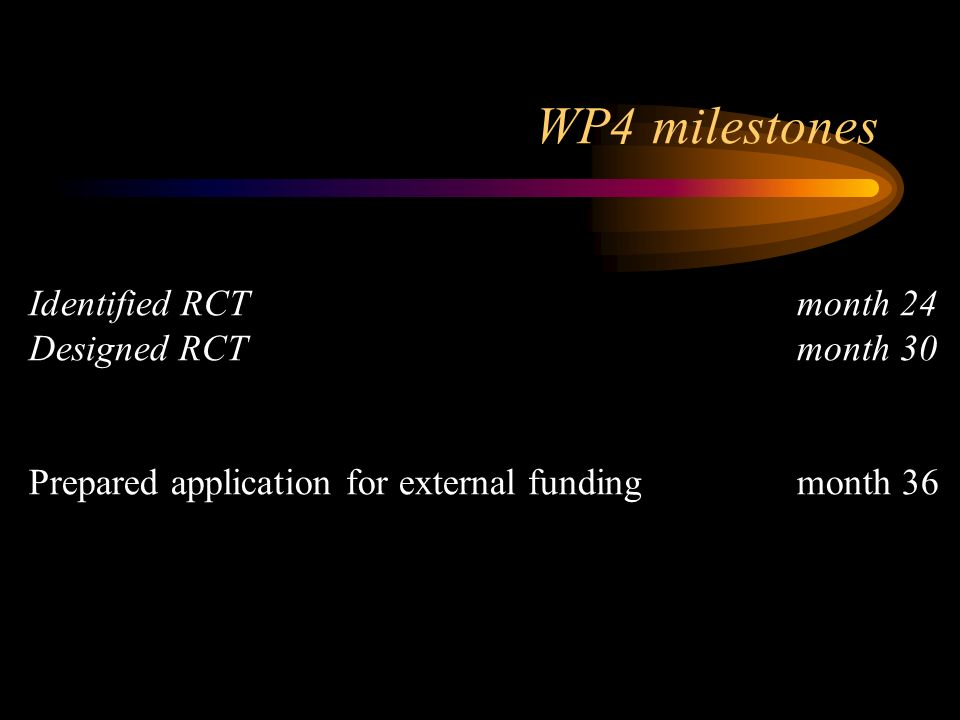 WP4 milestones Identified RCTmonth 24 Designed RCTmonth 30 Prepared application for external fundingmonth 36