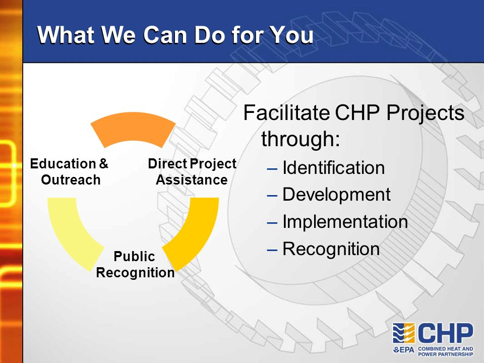 What We Can Do for You Education & Outreach Public Recognition Direct Project Assistance Facilitate CHP Projects through: –Identification –Development –Implementation –Recognition
