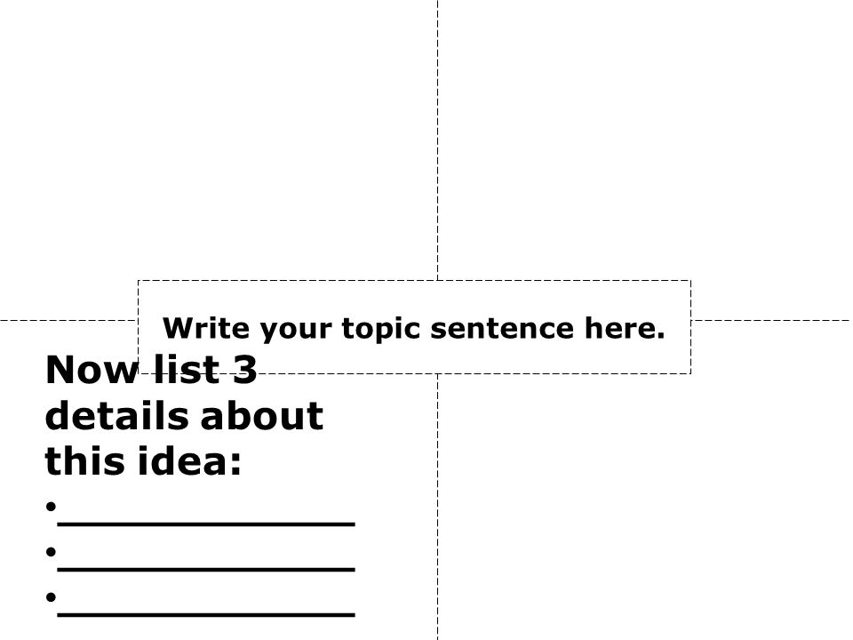 Write your topic sentence here. Now list 3 details about this idea: ___________