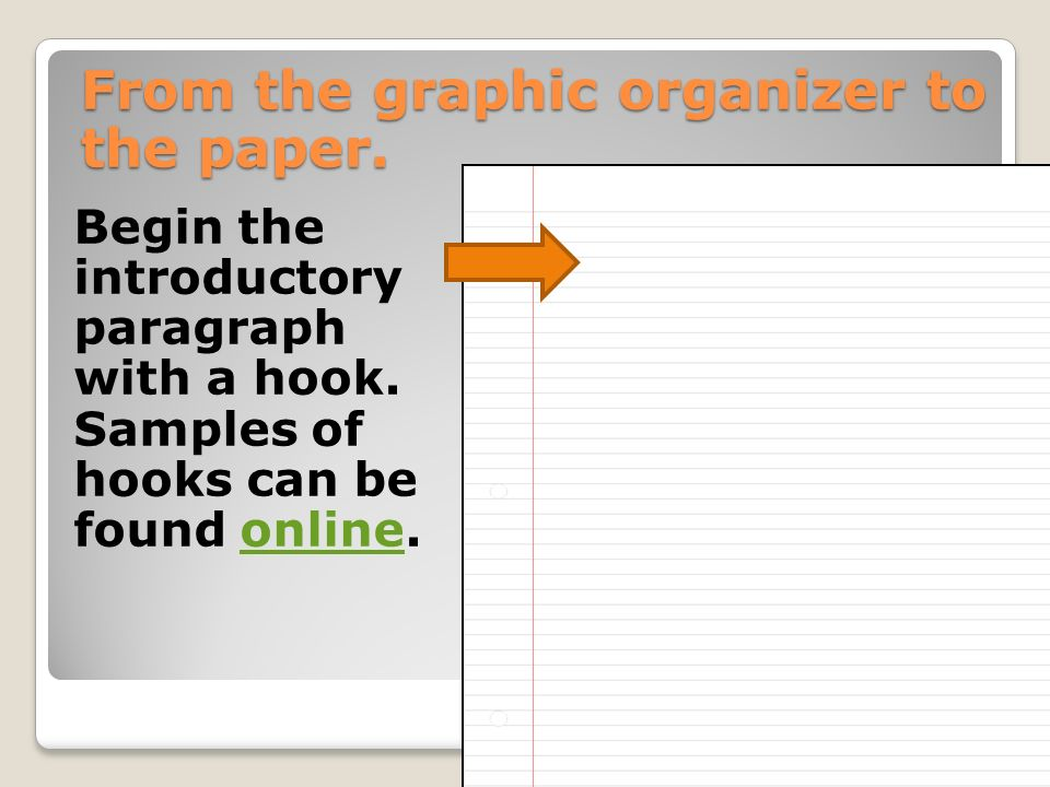 From the graphic organizer to the paper. Begin the introductory paragraph with a hook.