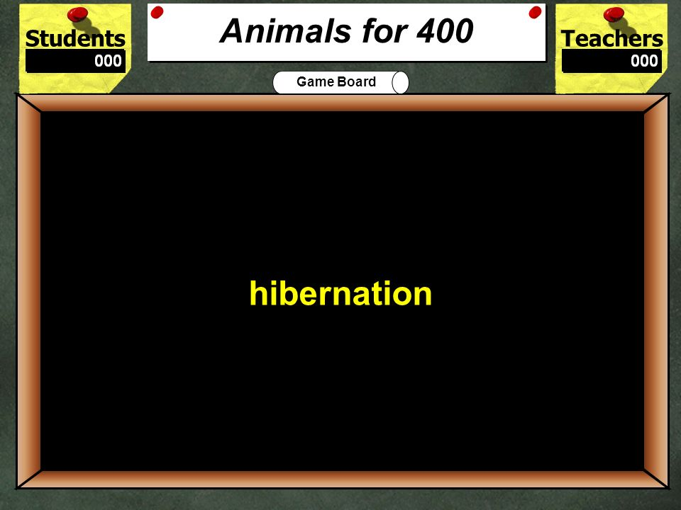 StudentsTeachers Game Board An animals surrounding are known as its 300 habitat Animals for 300