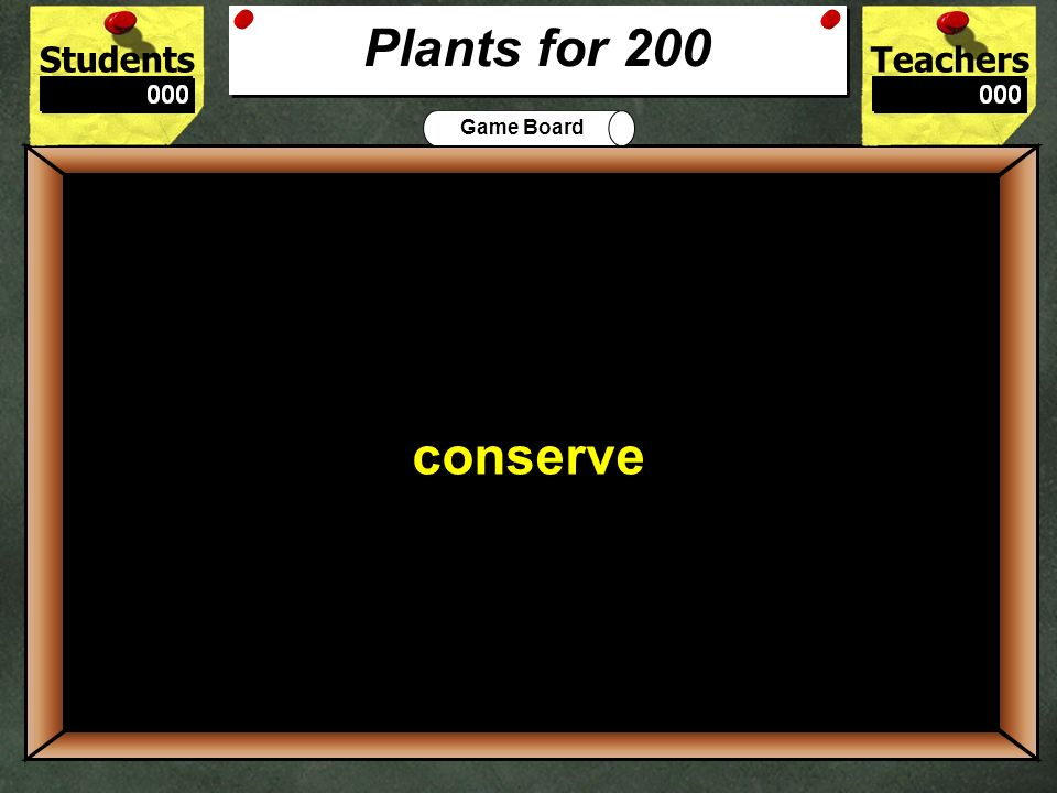 StudentsTeachers Game Board What 3 things does a plant need to survive.