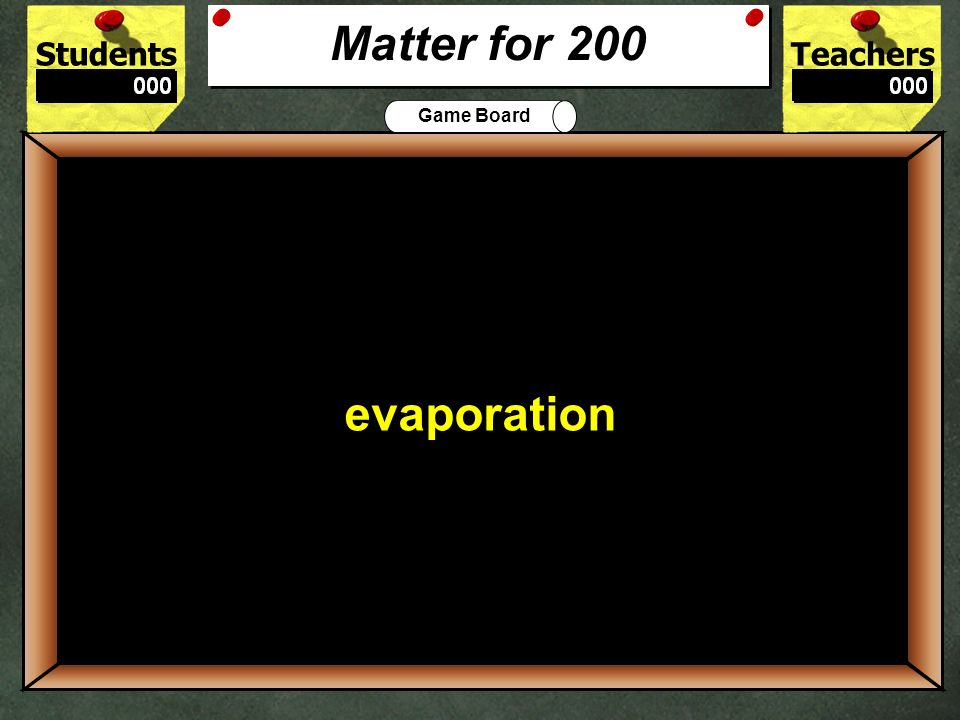 StudentsTeachers Game Board Name the 4 states of matter.