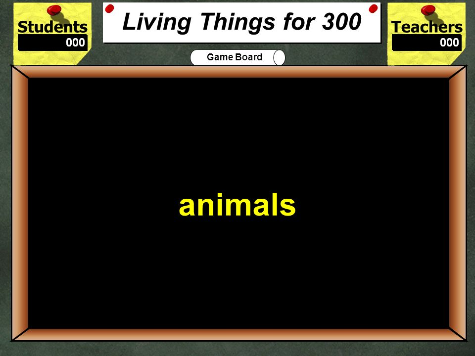 StudentsTeachers Game Board Living things have ___ characteristics. 200 seven Living Things for 200