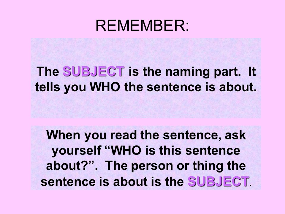REMEMBER: SUBJECT The SUBJECT is the naming part. It tells you WHO the sentence is about.