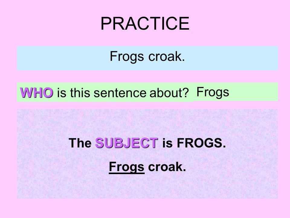 PRACTICE Frogs croak. WHO is this sentence about Frogs SUBJECT The SUBJECT is FROGS. Frogs croak.