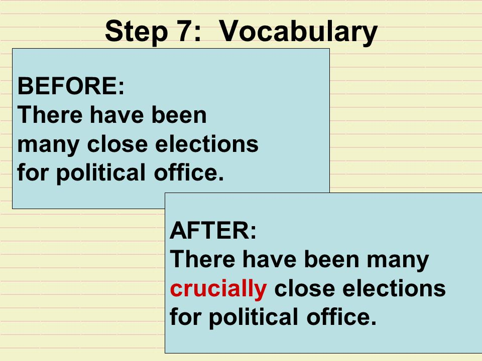 Step 7: Vocabulary BEFORE: There have been many close elections for political office.
