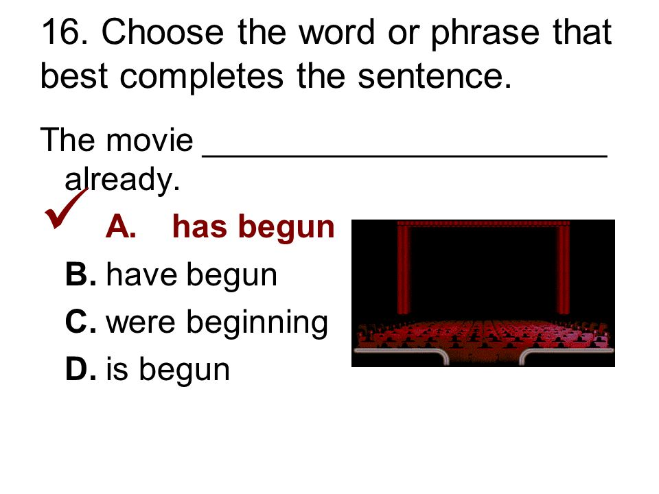 16. Choose the word or phrase that best completes the sentence.