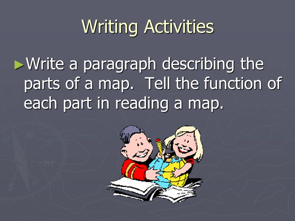 Writing Activities Write a paragraph describing the parts of a map.