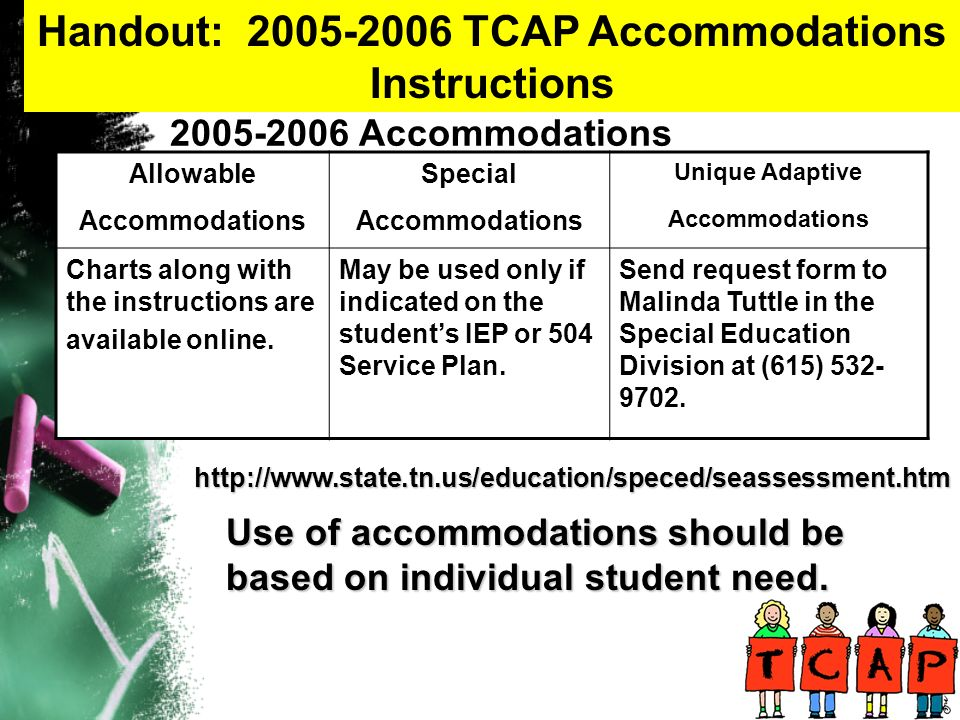2005-2006 Accommodations Allowable Accommodations Special Accommodations Unique Adaptive Accommodations Charts along with the instructions are available online.