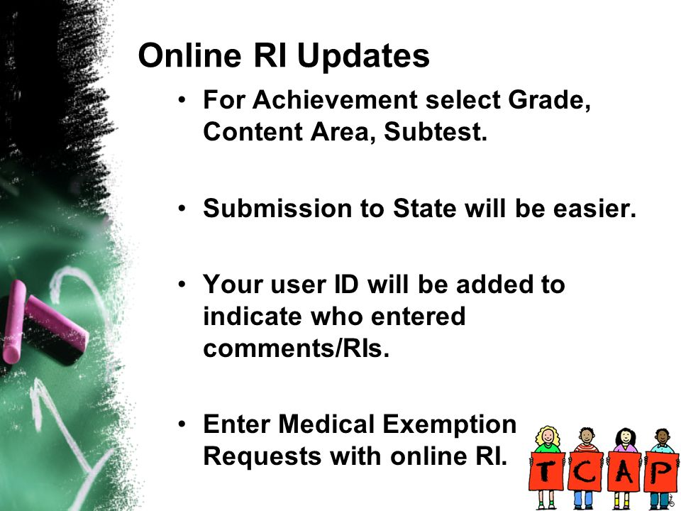 Online RI Updates For Achievement select Grade, Content Area, Subtest.