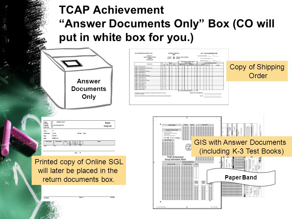 TCAP Achievement Answer Documents Only Box (CO will put in white box for you.) Answer Documents Only Paper Band Copy of Shipping Order GIS with Answer Documents (including K-3 Test Books) Printed copy of Online SGL will later be placed in the return documents box.