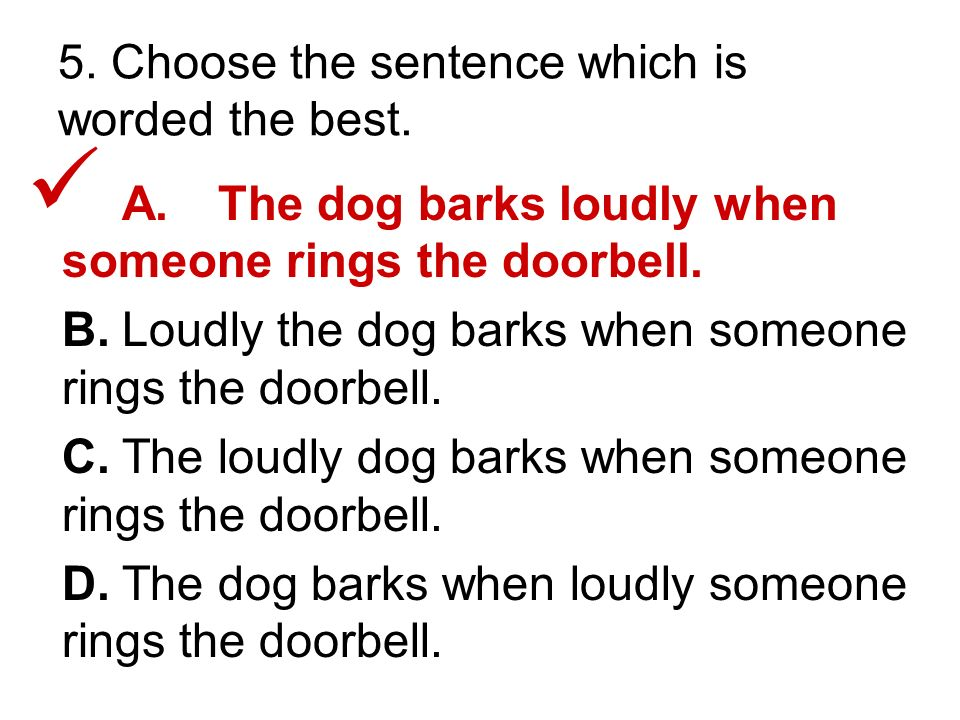 5. Choose the sentence which is worded the best.