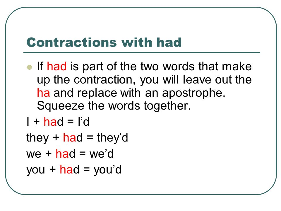 Contractions with have If have is part of the two words that make up the contraction, you will leave out the ha and replace with an apostrophe.