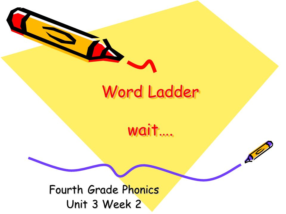 Word Ladder wait…. Fourth Grade Phonics Unit 3 Week 2