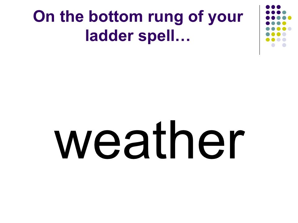 Word Ladders Third Grade Weather - Watcher Unit 2 Week 5 Created by Kristi Waltke