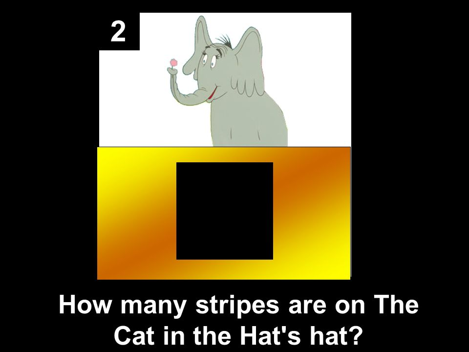 2 How many stripes are on The Cat in the Hat s hat
