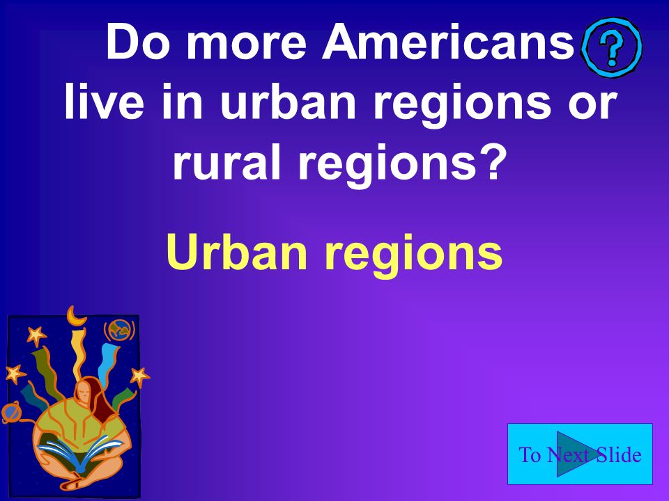 To Next Slide Do more Americans live in urban regions or rural regions Urban regions
