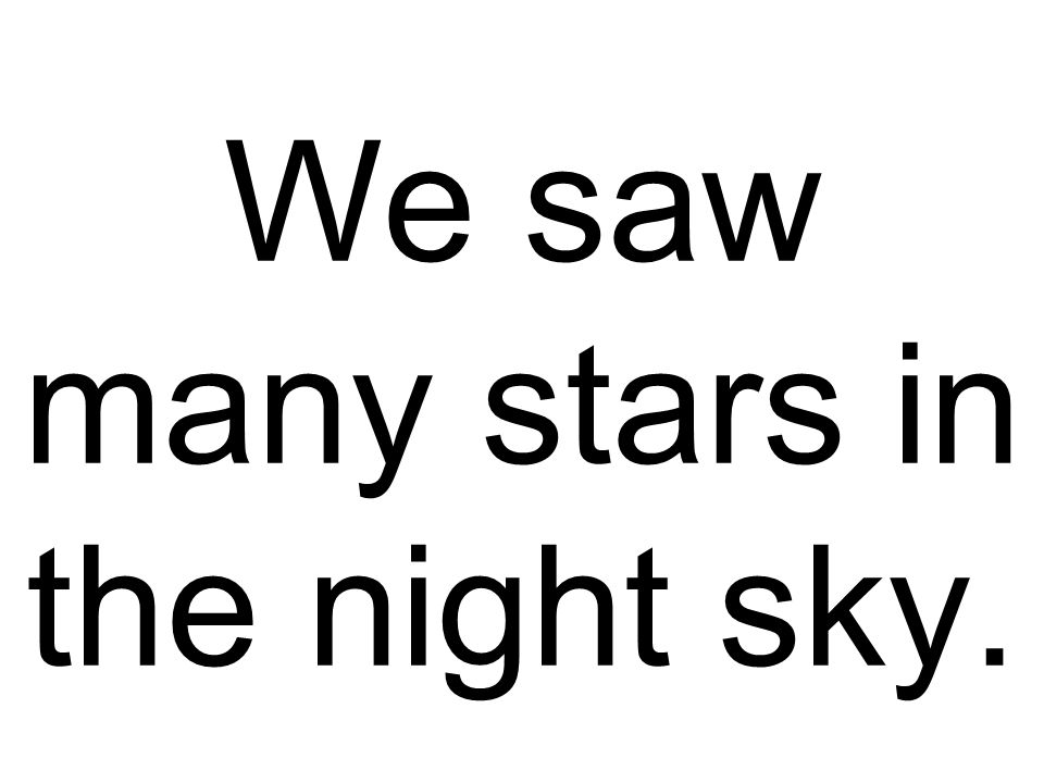 We saw many stars in the night sky.