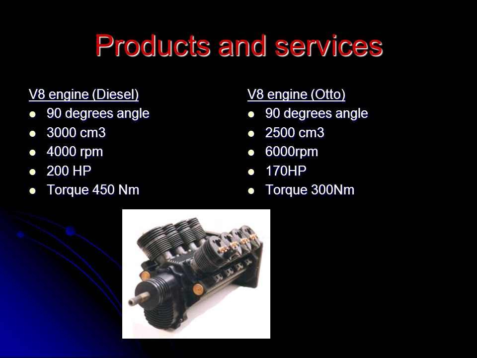 Products and services V8 engine (Diesel) 90 degrees angle 90 degrees angle 3000 cm3 3000 cm3 4000 rpm 4000 rpm 200 HP 200 HP Torque 450 Nm Torque 450 Nm V8 engine (Otto) 90 degrees angle 90 degrees angle 2500 cm3 2500 cm3 6000rpm 6000rpm 170HP 170HP Torque 300Nm Torque 300Nm