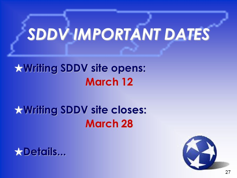 27 SDDV IMPORTANT DATES Writing SDDV site opens: Writing SDDV site opens: March 12 March 12 Writing SDDV site closes: Writing SDDV site closes: March 28 March 28 Details...