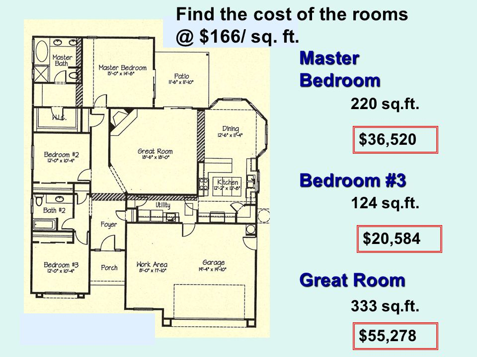 Find the cost of the rooms @ $166/ sq. ft. Master Bedroom Bedroom #3 Great Room 220 sq.ft.