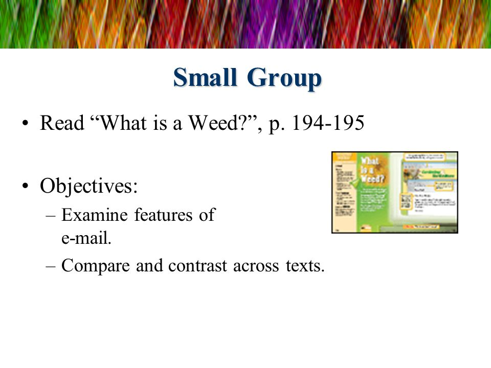 Small Group Read What is a Weed , p. 194-195 Objectives: –Examine features of e-mail.