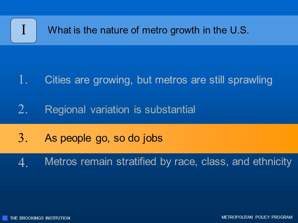 THE BROOKINGS INSTITUTION METROPOLITAN POLICY PROGRAM I What is the nature of metro growth in the U.S.