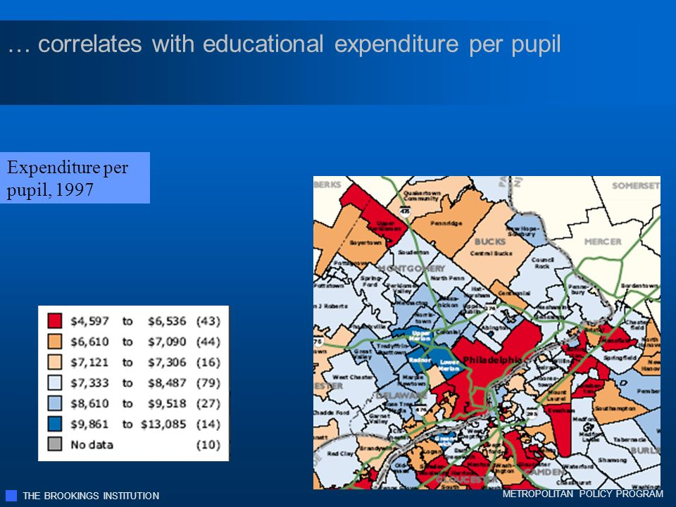 THE BROOKINGS INSTITUTION METROPOLITAN POLICY PROGRAM … correlates with educational expenditure per pupil Expenditure per pupil, 1997