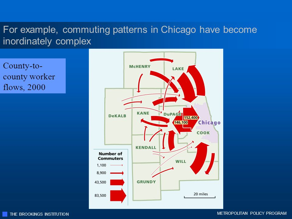 THE BROOKINGS INSTITUTION METROPOLITAN POLICY PROGRAM For example, commuting patterns in Chicago have become inordinately complex County-to- county worker flows, 2000
