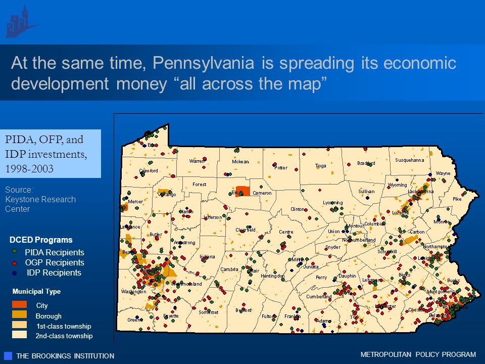 THE BROOKINGS INSTITUTION METROPOLITAN POLICY PROGRAM PIDA, OFP, and IDP investments, 1998-2003 At the same time, Pennsylvania is spreading its economic development money all across the map Municipal Type City Borough 1st-class township 2nd-class township DCED Programs PIDA Recipients OGP Recipients IDP Recipients Source: Keystone Research Center