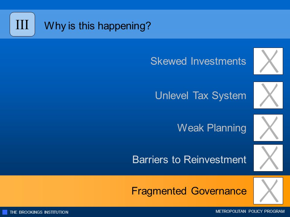 THE BROOKINGS INSTITUTION METROPOLITAN POLICY PROGRAM Unlevel Tax System Skewed Investments Weak Planning Barriers to Reinvestment Fragmented Governance Why is this happening.