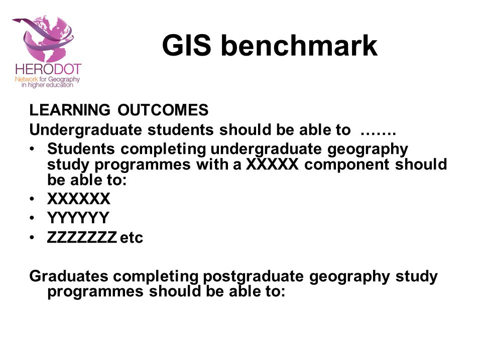 GIS benchmark LEARNING OUTCOMES Undergraduate students should be able to …….