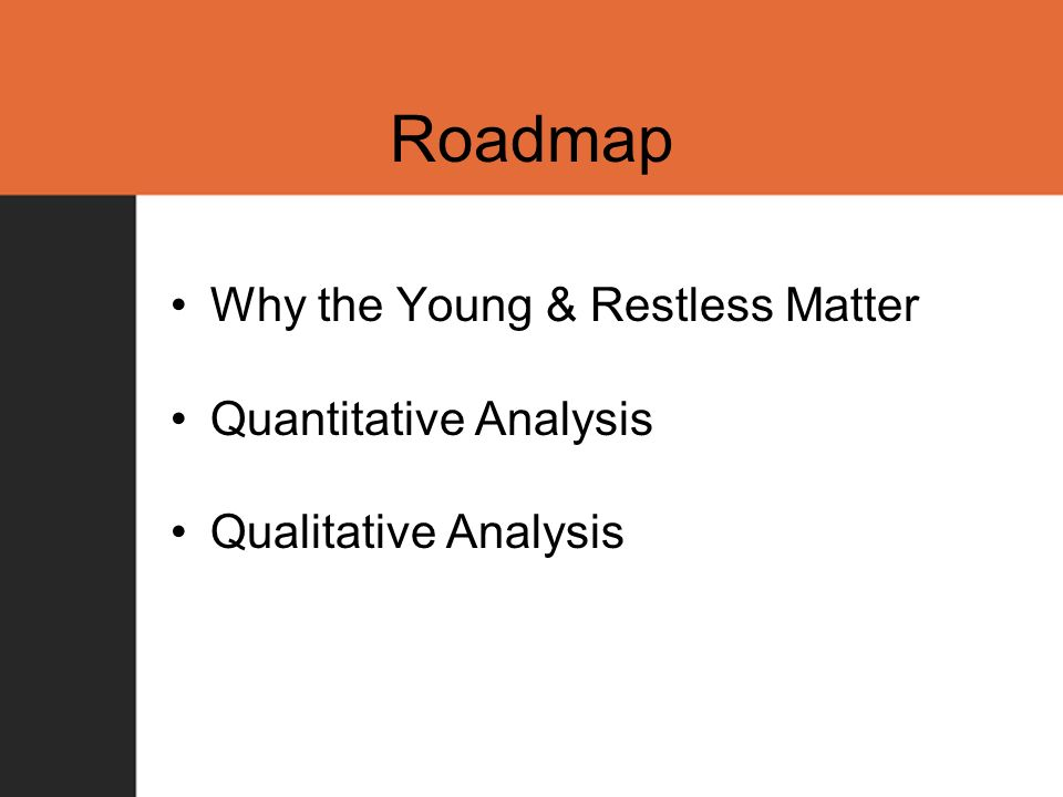 Roadmap Why the Young & Restless Matter Quantitative Analysis Qualitative Analysis