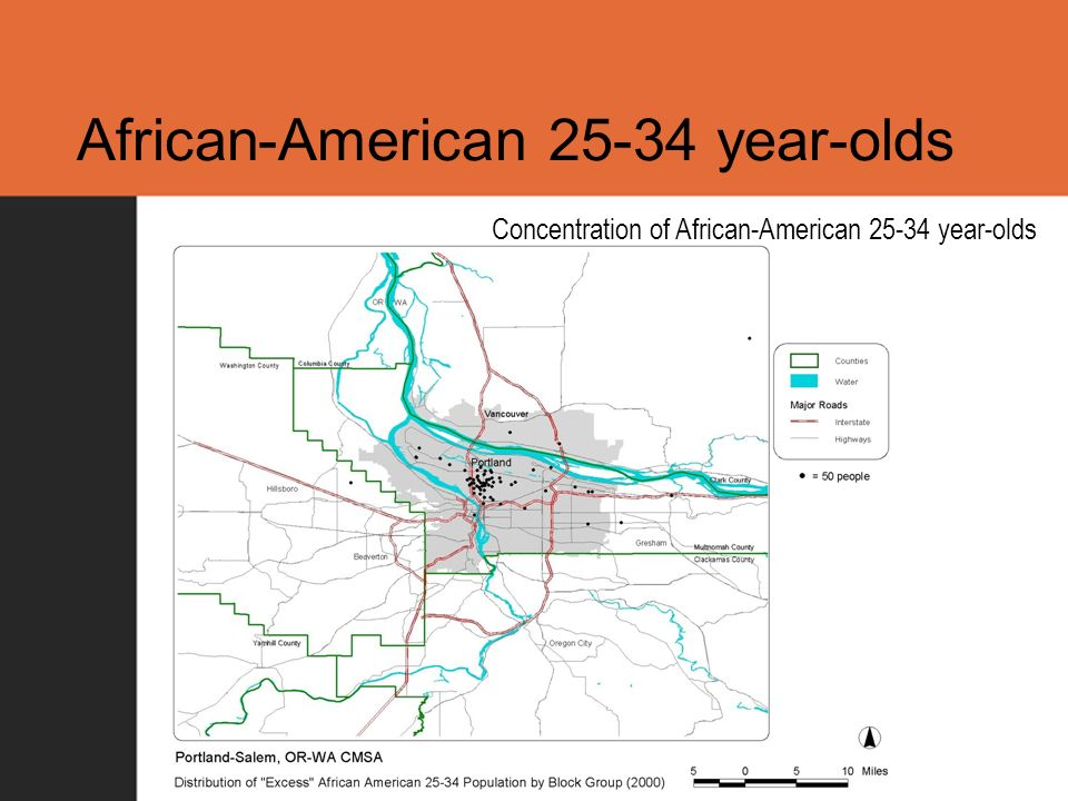 African-American 25-34 year-olds Concentration of African-American 25-34 year-olds