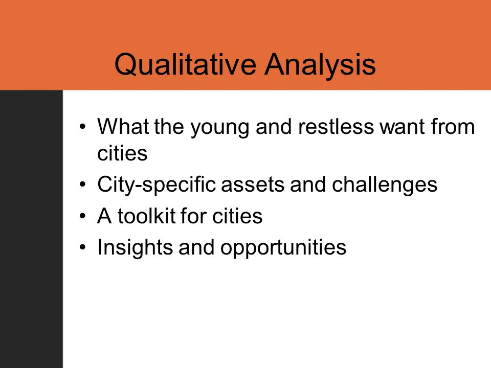 Qualitative Analysis What the young and restless want from cities City-specific assets and challenges A toolkit for cities Insights and opportunities